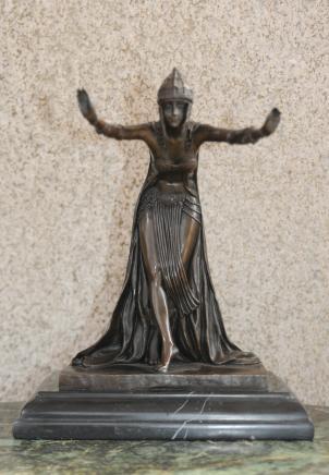 Art Déco français Dancer Statue en bronze par Colinet