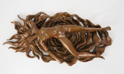 Art Nouveau Bronze Nu érotique Femme Figurine Sexy Lady Plaque