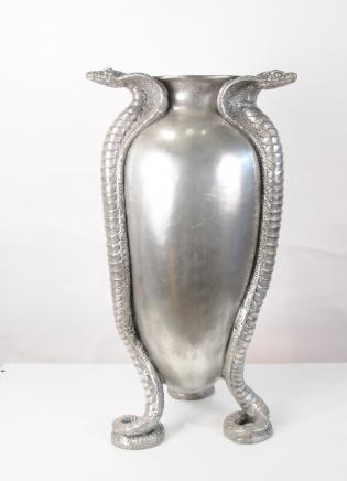Art Nouveau français Argent Bronze Serpent Serpent Urne Vase Jean Dunand