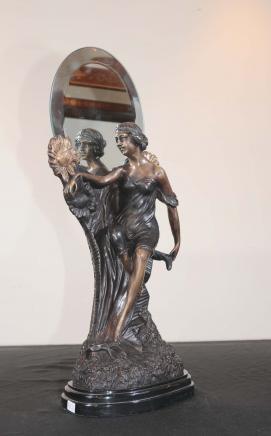 Art Nouveau français Bronze Figurine Miroir