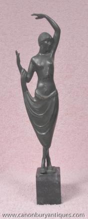 Art déco français Bronze Figurine Statue Odalisque
