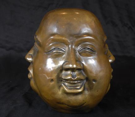 Bouddha en bronze chinois Buste Tête Art bouddhiste de l'Est