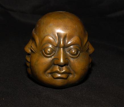 Bronze 4 Tête de Bouddha Buste en bronze bouddhiste de l'Est