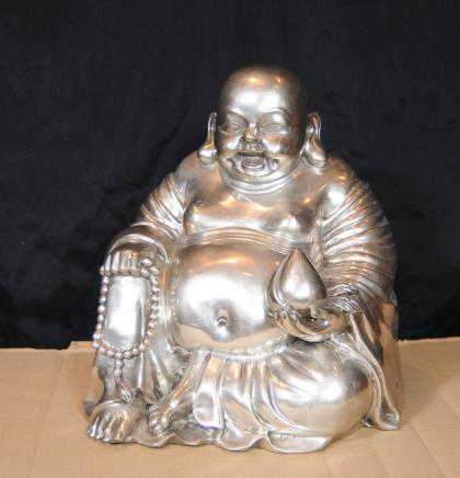 Bronze Argent Laughing Buddha Statue Budai Hotei Feng Shui bouddhiste bouddhisme
