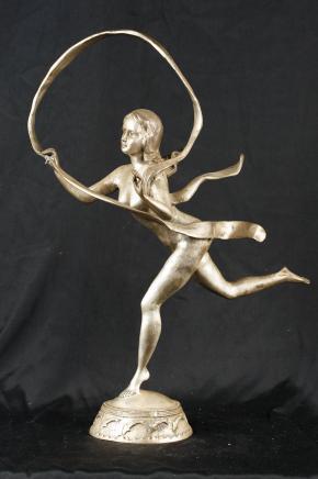 Bronze Argent casting Art Nouveau Hoop Fille Paul Manship