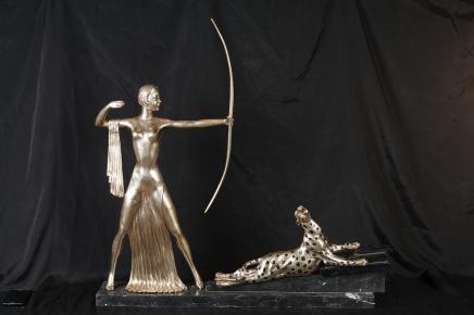 Bronze Art Déco Diana chasseresse Archer Figurine Leopard Cat Statue casting