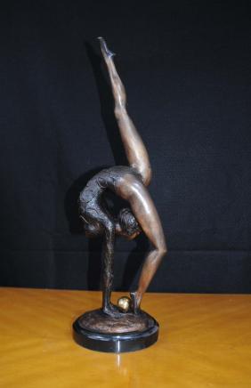 Bronze Art déco Figurine Boule Danseur de ballet Statue Gymnaste