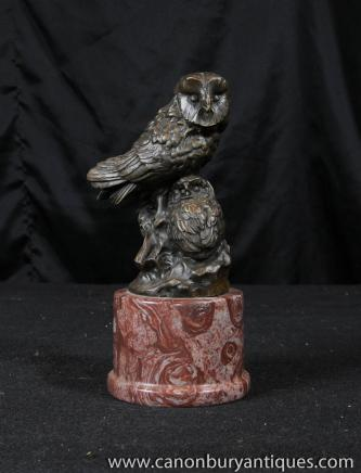 Bronze Barn Owl Statue Chevêchette oiseaux Prey casting