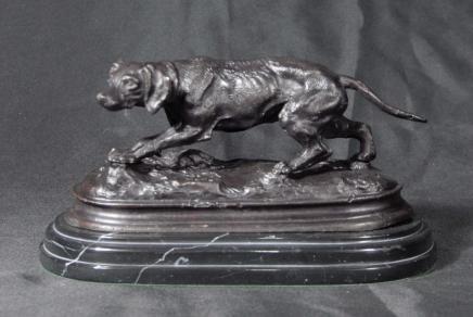 Bronze Français Casting sang Hound Dog Signé Mene