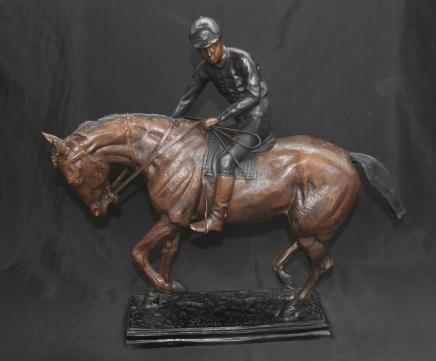 Bronze Français Cheval Jckey Signé volet Chevaux mobiles