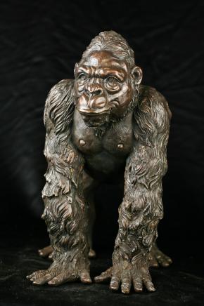 Bronze Gorilla Statue de singe primat Art Jardin Figure
