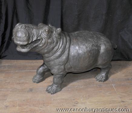 Bronze Hippo Hippopotame Fontaine Sculpture Statue Jardin architectural