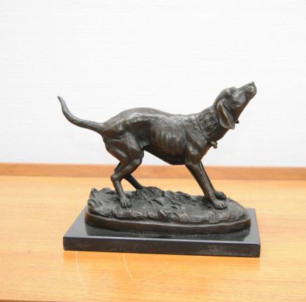Bronze Labrador Dog Statue Signé Milo