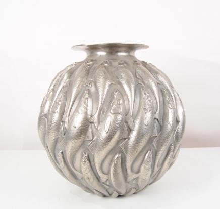 Bronze Lalique Marisa Goldfish Bowl Art Nouveau Planteur Accompagnement Poisson