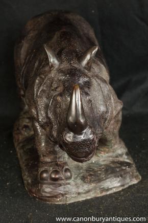 Bronze Rhino Statue Rhinocerous africaine casting Tribal Art