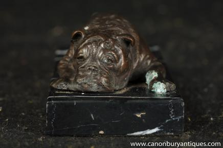 Bronze anglais Bulldog Statue Allongé Bull Dog