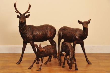 Bronze de Deer Stag famille Doe Jardin Statue Fawn