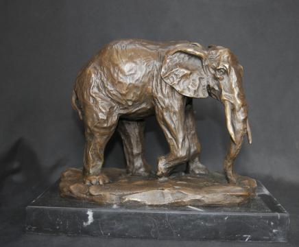 Bronze français casting éléphant éléphants en marbre de base