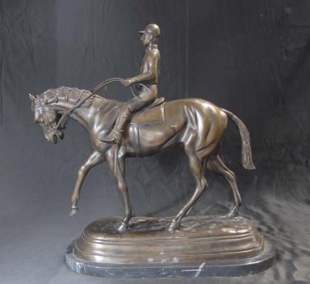 Bronze français casting Cheval Jockey Mene Chevaux Sculpture