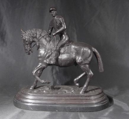 Bronze français casting Cheval Jockey Signé PJ Mene