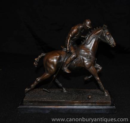 Bronze joueur de polo Statue Cheval Jockey Figurine casting