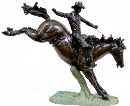 Cheval 3,5 m Bronze américain Cowboy à cheval