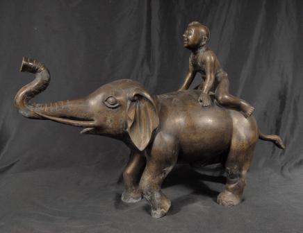 Chinois Tang Bronze Elephant & Boy éléphants casting