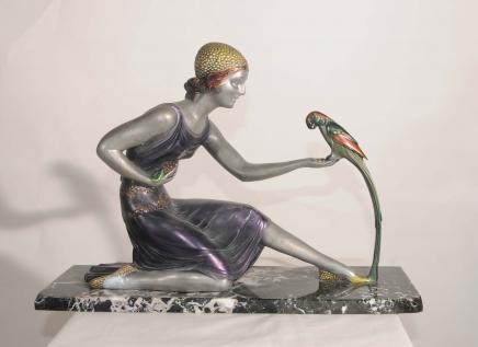 Chiparus Art Déco Bronze Figurine Statue Résine Parrot Fille
