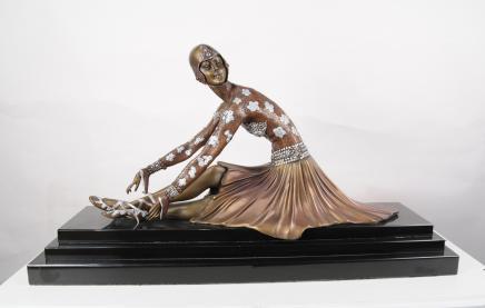 Chiparus Art Déco Bronze danseur de ballet français des années 1920 Statue Figurine