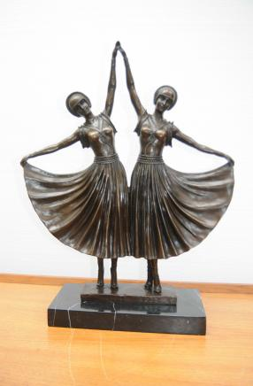 Chiparus Bronze Double Deco Dancer Statue Figurine