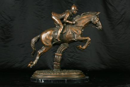 Français Bronze Horse & Jockey Statue Chevaux steeple
