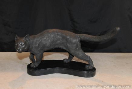 Français Bronze Statue de chat casting base de marbre