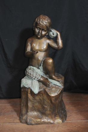 Français Bronze fontaine de jardin Fisher Conch Boy Statue Casting Parodies de l'eau