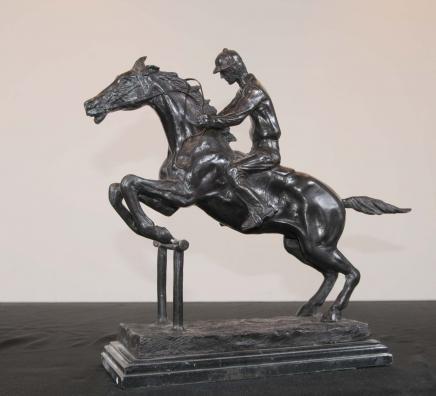 Français Cheval de bronze Jockey Bonheur Chevaux Jump Statue