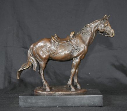 Français Cheval de bronze Poney Statue Signé Milo