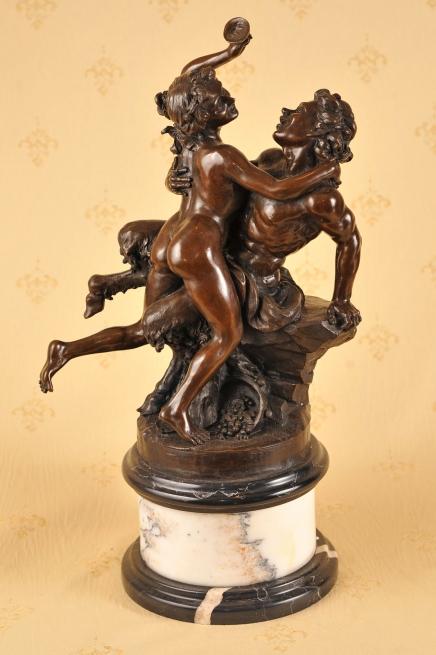 Française classique Bronze Bacchus Satyre Sabine Statue