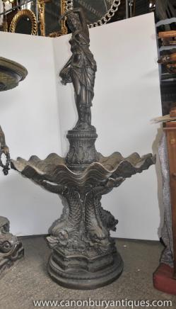Grand classique italien entité Bronze Fontaine Maiden serpent de mer