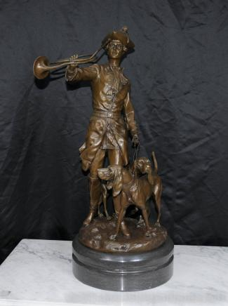 Grand français Bronze Hunter Statue Bloodhound Dog Statue
