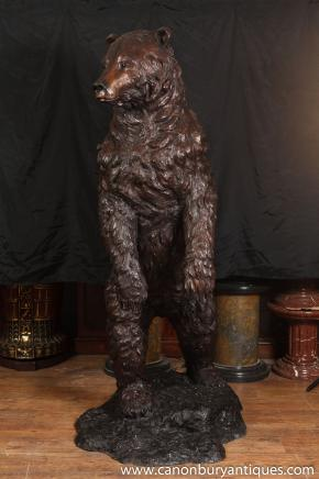 Grandes 6ft Bronze américains ours brun Statue Ours Animaux
