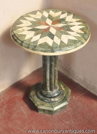Italian Marble Side Table Sunburst Inlay Tuscan