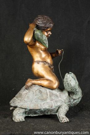 Italienne entité fontaine des tortues de bronze Chérubin jardins d'eau Art