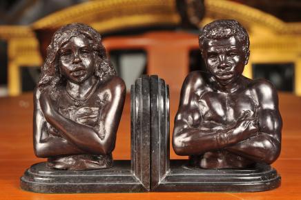 Italiens de Venise Bookends Buste Bronze Nègre