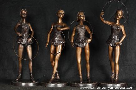 Mettre 4 Art Déco Hoop Danseur de ballet Statues Femme Figurine