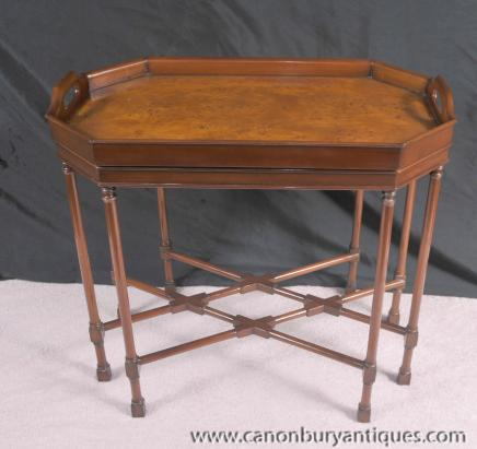 Noyer Regency Plateau Side Table d'appoint Tables Canapés