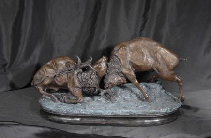 Paire écossais Bronze orniérage Cerfs Cerf Moose Elk Statue