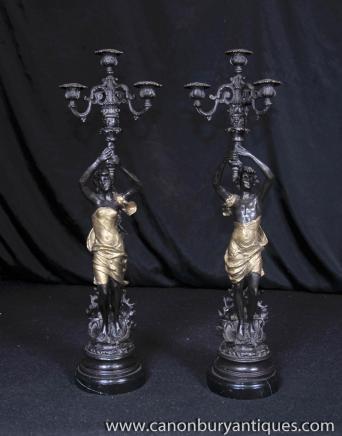 Paire Art Nouveau Bronze Chandeliers Homme Femme Figurines torchères