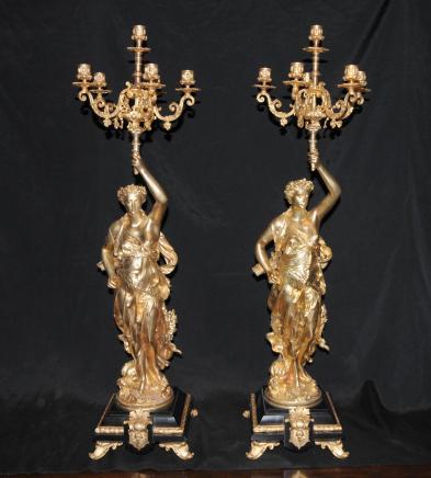 Paire Bronze Candélabres Signé Gregoire français torchères