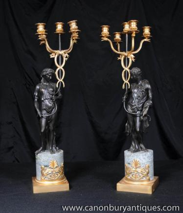Paire Bronze Empire Chandeliers Homme Femme Bougies Figurines
