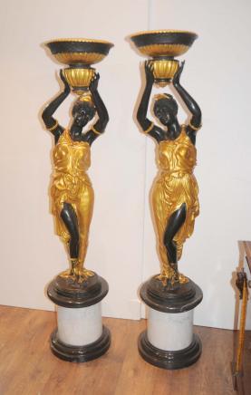 Paire Bronze italien Nègre Statues torchères signée