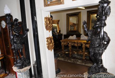 Paire Bronze italien nains Nègre torchères Statues Candélabres